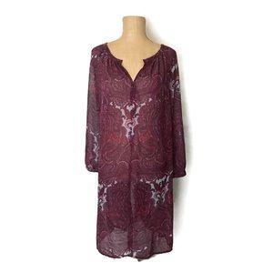 Lucky Brand Boho Dress Sheer Paisley Shift